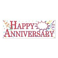 Beistle 57516 Happy Anniversary Sign Banner, 5-Feet by 21-Inch by Beistle