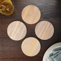 4 Set of 4 Inch Round Durable Natural Radiant Sandstone Coasters by Franmara