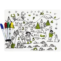 modern-twist Kids Mark-Mat Silicone Coloring Placemat with 4 Dry-Erase Markers, Numbers by modern...