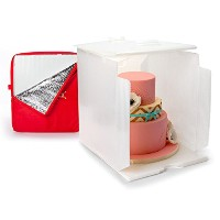 Innovative Sugarworks Small Cake Porter with Insulated Cover and Cake Carrier, 14 x 14 x 16, White...