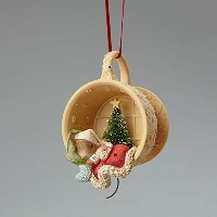 Enesco Heart of Christmas Mouse Sleeping in Cup Ornament 2.87 IN [並行輸入品]