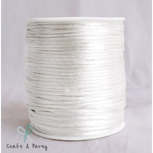 White 1.5mm x 100 yards Rattail Satin Nylon Trim Cord Chinese Knot by Craft And Party