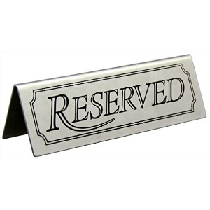 New Star 26900 Stainless Steel Reserved Table Sign, 4.75 by 1.5-Inch, Set of 6 [並行輸入品]