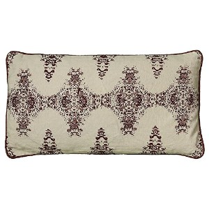 High Quality T05892 Metallic Printed with Embroidery Decorative Pillow, 11 by 21-Inch, Cream