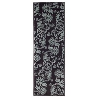 High Quality Floral Scroll Area Rug, 1'8 by 5', Brown/Blue