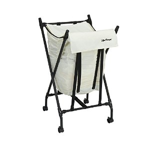 High Quality LH1005 Lifter Hamper Spring Loaded Rolling Laundry Bag with Cloth Lid - White