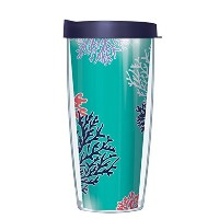 コーラル – TealラップTumbler Cup with Navy蓋 16 Oz