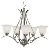 Trans Globe Lighting EST Ribbon Branched 5-Light Chandelier, Brushed Nickel by Trans Globe Lighting