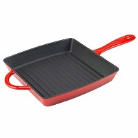 Zelancio調理器具Enameled Cast Ironグリルパン。正方形10インチはPerfect forステーキ、Grilled Cheese , and More。 レッド ZEL-GP...