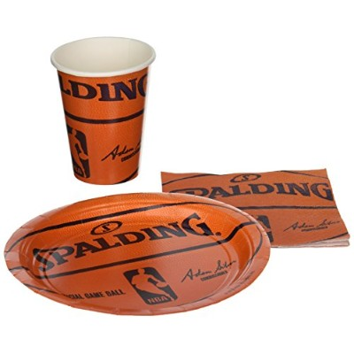 Spalding Basketball - Party Supplies Pack Including Plates, Cups, and Napkins- 18 Guests by Amscan