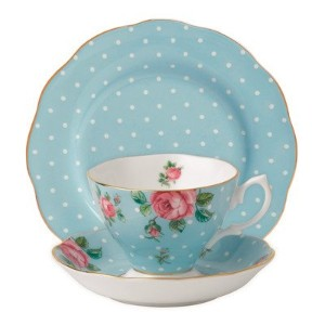 Royal Albert 3-Piece New Country Roses Teacup, Saucer and Plate Set, Polka Blue by Royal Albert