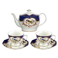 Gracie中国5-piece Fine Porcelain Teaセット、Sweet Finch withロイヤルブルーBorder