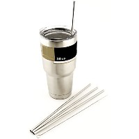 4 LONG Stainless Steel Straws fits 30 oz Yeti Tumbler Rambler Cups - CocoStraw Brand Drinking Straw...