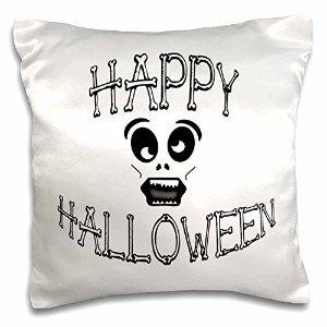 """Sandy Mertens Halloween Words–Happy Halloweenボーンand Funny Skull Face–枕ケース 16 by 16"""" pc_53781_1"""