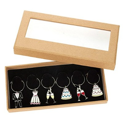 6 Piece Set of Wine Glass Charms - Wedding Themed Glass Decorations for Parties, Wedding Events - 3...
