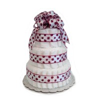 Ladybug Red and White - Baby Shower Diaper Cake/ Centerpiece (3 Tier) by Rubber Ducky