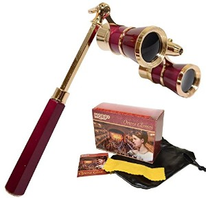 HQRP Opera Glasses /双眼鏡W /クリスタルクリアOptic ( CCO ) 3 x 25 in Burgundy color with goldenトリム、内蔵拡張可能ハンドルと赤...