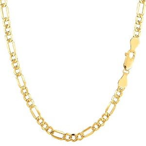 """14k Yellow Gold Hollow Figaro Chain Necklace, 3.5mm, 18"""""""