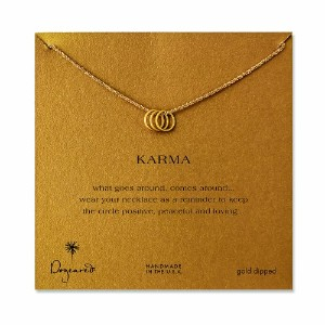 Dogeared Triple Karma Ring Gold Dipped Necklace–18インチ
