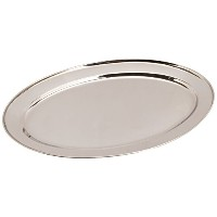 Winco OPL-18 Stainless Steel Oval Platter, 18-Inch by 11.5-Inch by Winco