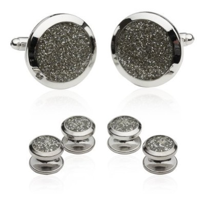 (Silver/Silver) - Silver Diamond Dust Tuxedo Cufflinks and Studs