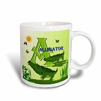 3dローズSmudgeartアルファベットデザイン – 装飾動物アルファベットアートfor Children – A is for Alligators at the Swamp – マグカップ...