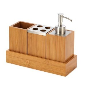 Eco Friendly Kyoto Bamboo Bath Set Trio Soap Pump Caddy by Furniture Creations
