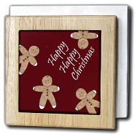 PSクリスマス–Happy Happy Christmas Gingerbread Men Cookie–タイルナプキンホルダー 6 inch tile napkin holder nh...
