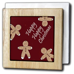 PSクリスマス – Happy Happy Christmas Gingerbread Men Cookie – タイルナプキンホルダー 6 inch tile napkin holder nh...