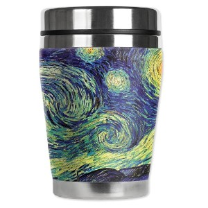 "Mugzie Van Gogh Starry Night "" Mini "" Travel Mug with Insulatedウェットスーツカバー、12オンス、ブラック"