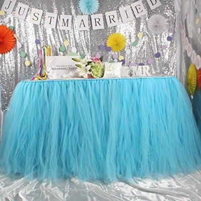 AerWo Tutu Table Skirts Tulle Queen Snowflake Wonderland Tutu Table Cloth for Girl Princess Party...