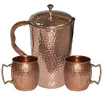 DakshCraft High Quality Pure Copper Jug With 2 Pure Copper Hammered Moscow Mule Mug Set by...
