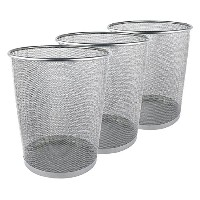 High Quality Mesh Wastebasket Trash Can, 6 Gallon, Silver, 3 Pack
