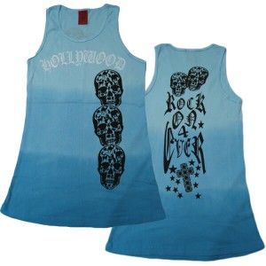 A&G TANK TOP MEN'S [HOLLY WOOD SKULL]リブタンクトップ
