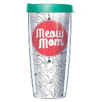 Meow Mom Cat LoverラップタンブラーMug with Lid 16 Oz ホワイト