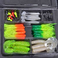 35Pcs Soft Plastic Worm Fishing Baits 10 Lead Jig Head Hooks Simulation Suite Set Lures Tackle