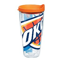 Tervis 1084621 NBA Okc Thunder Tumbler with Orange Lid, Wrap, 24 oz, Clear by Tervis