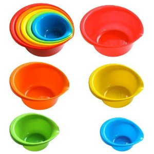 5 Piece Plastic Mixing Bowls with Built-in Pouring Spouts in Assorted Colors and Assorted Sizes by...