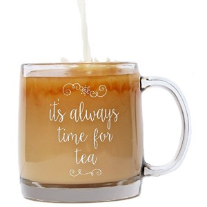 "A Little Bird "" It 's Always Time For Tea ""プレミアムガラスマグfor Tea Lovers 13 Oz"