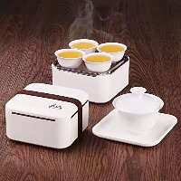 Eternal中国磁器スタイルKung Fu Tea Set Gongfu Tea Service With Aポータブルバッグfor旅行(ホワイト) 5- Pack