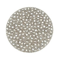 SARO LIFESTYLE 442.S15R 4-Piece Beaded Design Placemat Set, 15-Inch, Silver, Round [並行輸入品]