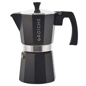 GROSCHE Milano Moka Stovetop Espresso Coffee Maker With Italian Safety Valve, Black, 9 cup by...