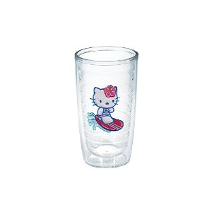 Tervis Hello KittyサーフィンKitty Emblem Tumbler with Lidなし、16オンス、クリア