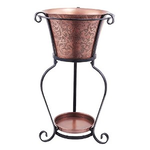 Old Dutch Solid Etched Beverage Tub with Stand, 5 gallon, Copper Antique/Black Power Coated [並行輸入品]