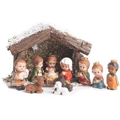 Factory Direct Craft Miniature Child Character Nativity and Stable Set For Holiday and Home Decor