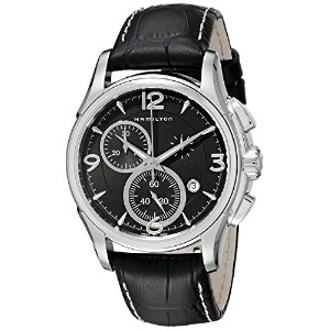 Hamilton Men's H32612735 Jazzmaster Stainless Steel Watch with Black Leather Band