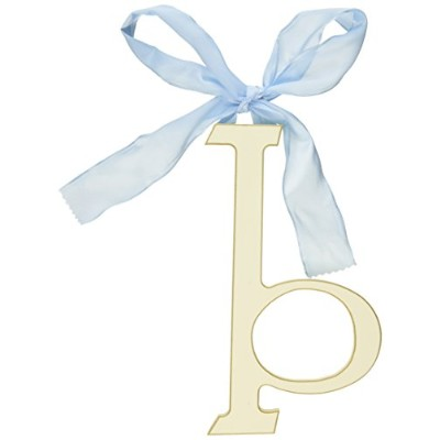 New Arrivals Wooden Letter B with Blue Solid Ribbon, Cream by New Arrivals