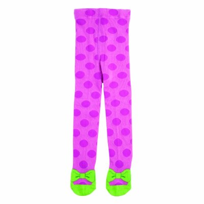 Elegant Baby My Favorite Tights with Green Shoes, Hot Pink with Polka Dots by Elegant Baby