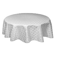 Bardwil Reflections Spill Proof 70 Round Tablecloth, White by Bardwil