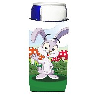 Caroline 's Treasures aph7632muk Bunny Rabbit In Mushrooms Michelob Ultra Koozies forスリム缶、マルチカラー